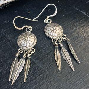 Sterling silver concho dangle earrings